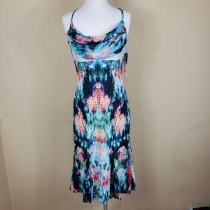 Nicole Nicole Miller Watercolor Print Silk Dress
